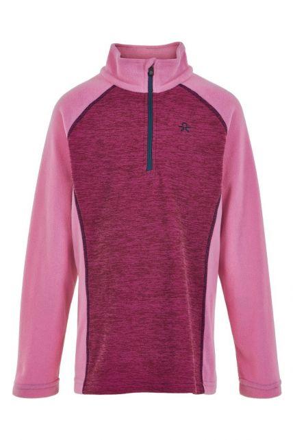 Color-Kids---Fleece-pullover-with-half-zip-for-girls---Melange---Fuchsia-Pink