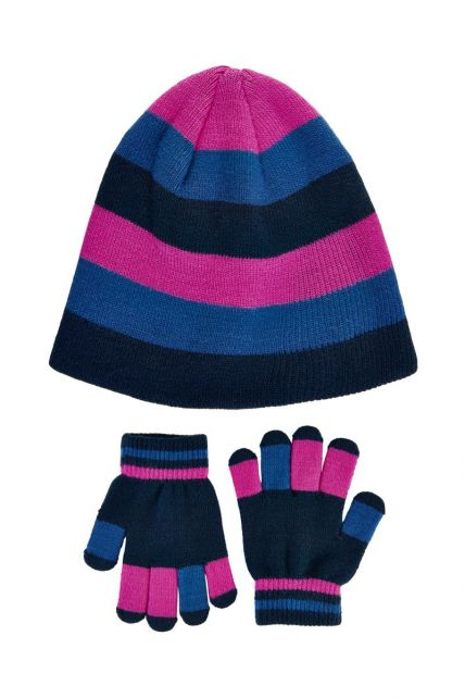 Color-Kids---Beanie-and-gloves-set-for-girls---Rose-Violet