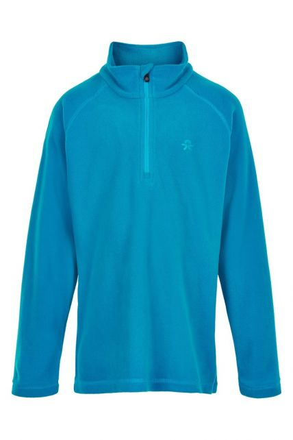 Color-Kids---Fleece-pullover-with-half-zip-for-children---Solid---Surf-Blue