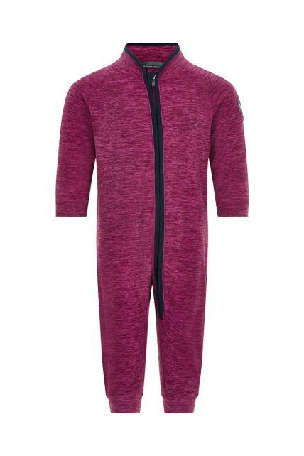Color-Kids---Fleece-overall-for-babies---Melange---Beet-Red