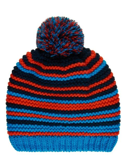 Color-Kids---Beanie-with-fleece-for-boys---Stripes---Blue-surf