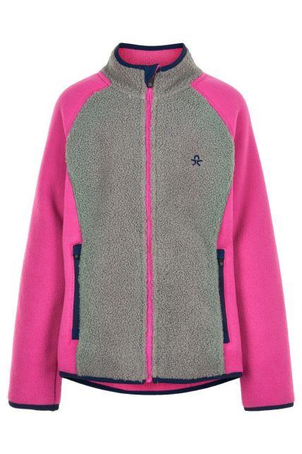 Color-Kids---Fleece-jacket-for-girls---Colorblock---Grey/Pink