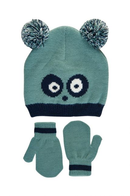 Color-Kids---Beanie-and-mittens-set-for-baby-boys---Panda---Mineral-Blue