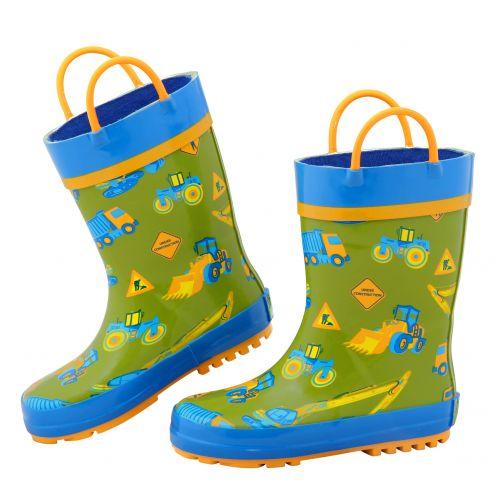 Stephen-Joseph---Rainboots-for-boys---Construction---Green/Blue