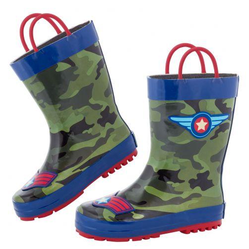 Stephen-Joseph---Rainboots-for-boys---Pilot---Camouflage-green/Dark-blue