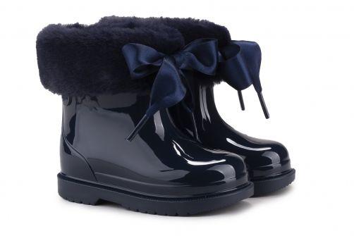 Igor---Rainboots-for-girls---Bimbi-Soft-high-gloss-with-bow---Navy