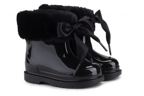 Igor---Rainboots-for-girls---Bimbi-Soft-high-gloss-with-bow---Black