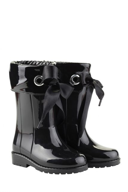 Igor---Rainboots-for-girls---Campera-Charol-high-gloss-with-bow---Black