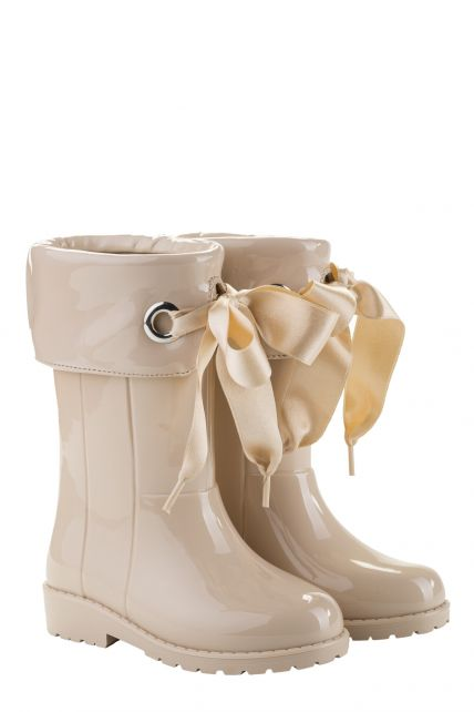 Igor---Rainboots-for-girls---Campera-Charol-high-gloss-with-bow---Beige