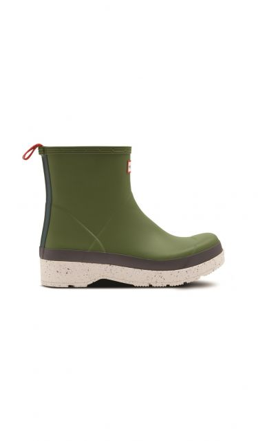 Hunter---Rainboots-for-men---Play-Short-Speckle-Sole---Moss/Purrey